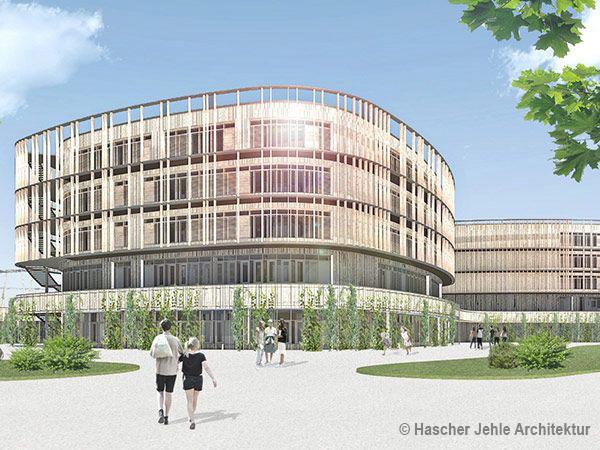 Das neue Hausenstein-Gymnasium: Drei vier- bis fünfgeschossige Bau-Elemente ruhen auf einem gemeinsamen Sockel.
